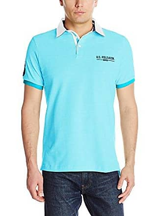 U.S.Polo Association Mens Solid Pique Polo Shirt with Contrast Collar, Tropical Teal, Small
