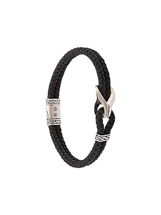 John Hardy Silver Classic Chain Woven Leather Bracelet with Station - Black