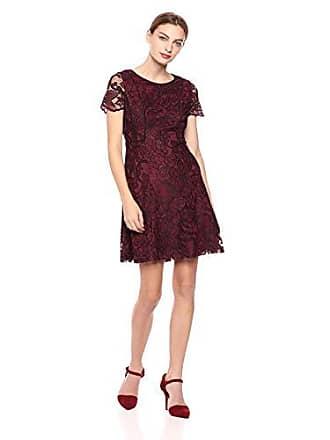 Kensie Dress Womens Two Tone Lace Dress, Burgundy BACL, 12