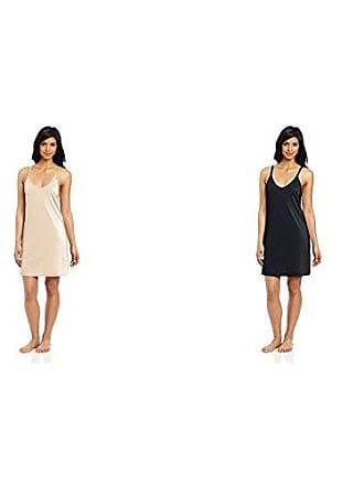 Vanity Fair Womens Spinslip 18 Inch 10158, Damask Neutral/Midnight Black, 36 Bust (18 Length)