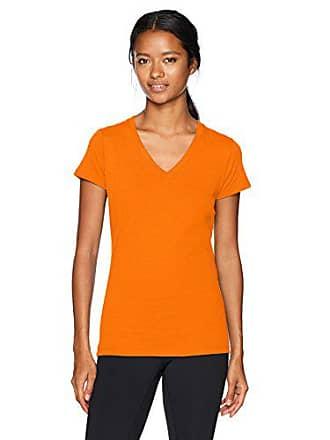 Soffe Womens Junior V-Neck Tissue Tee, Orange, X-Large