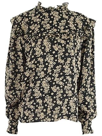 4997c2fbad13ed Valentino Black And Tan Floral Blouse With Cuff Links - L - 1980s