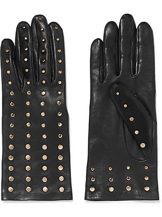Agnelle Studded Leather Gloves - Black