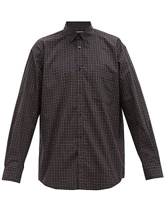 656d260fa018 Balenciaga Logo Print Plaid Cotton Shirt - Mens - Navy