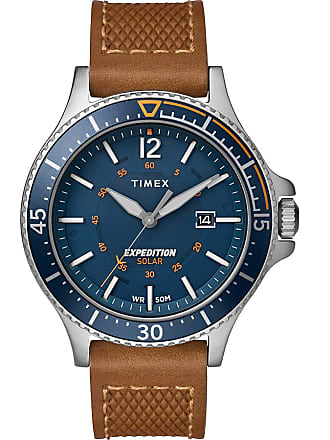 Timex Watch Mens Expedition Ranger Solar 43MM Leather Strap Silver-Tone/tan/blue Item Tw4B15000Za