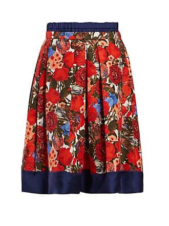 888e33d4b5 Marni Floral Print Poplin Midi Skirt - Womens - Red Multi