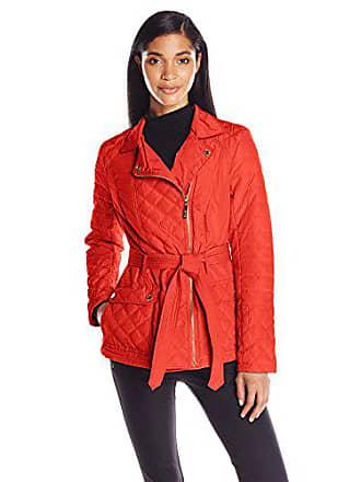 Kensie Womens Asymmetrical Diamond Quilt Coat, Tangerine, Medium