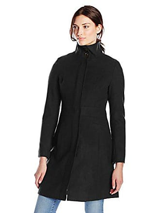 Via Spiga Womens Mid-Length Stand Collar Wool Coat with Waist Slimming Detail, Solid Black, 4