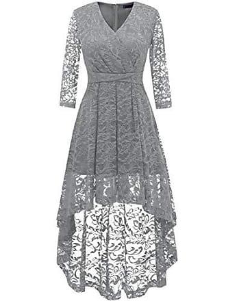 1e27a6c7db8b7 Dresstells Damen elegant Hi-Lo Cocktailkleid Unregelmässig Spitzenkleid  Vokuhila Kleid mit V-Ausschnitt Festlich
