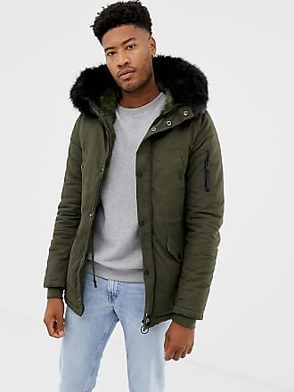 ee95b878a5 Sixth June parka coat in khaki with black faux fur hood exclusive to ASOS -  Green
