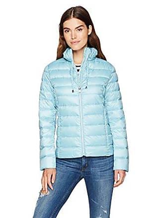 Via Spiga Womens Ruffle Detail Stand Collar Lightweight Packable Down Coat, Hydrangea, Medium