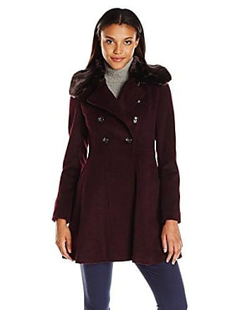 Via Spiga Womens Mid-Length Fit and Flare Double Breasted Wool Coat, Shiraz, 14