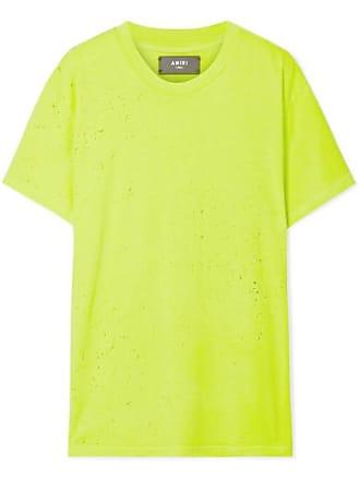 Amiri Shotgun Distressed Supima Cotton-jersey T-shirt - Yellow