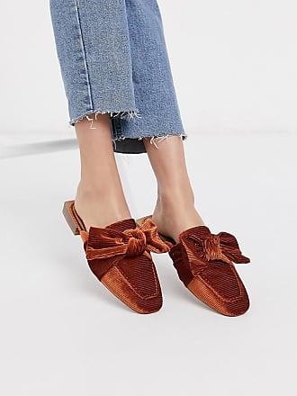 Asos Mumble bow flat mules in rust-Orange