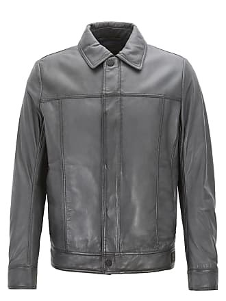 BOSS Hugo Boss Slim-fit trucker-style jacket in waxed lambskin leather 46R  Open 06456723d00