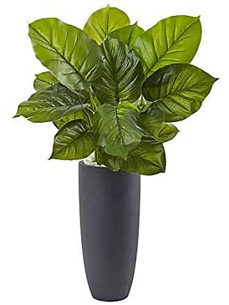 Nearly Natural 6877 Large Leaf Philodendron with Gray Cylindrical Planter