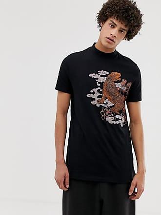 0f8373a59519 Asos T-shirt dolcevita lunga in cotone biologico con stampa souvenir di  tigre - Nero