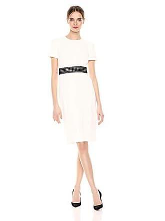 ce3f2c046a Calvin Klein Womens Short Sleeve Sheath with Lace Waist Band Dress
