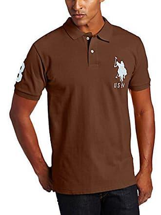 U.S.Polo Association Mens Solid Short-Sleeve Pique Polo Shirt, Dark Brown, L