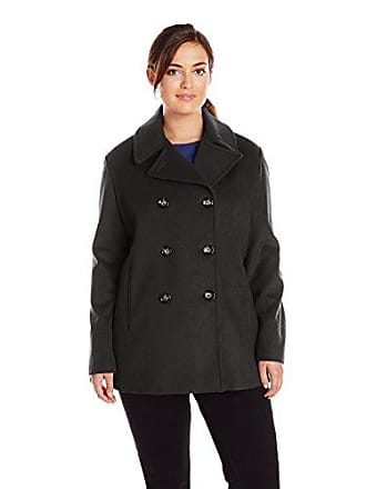 Calvin Klein Womens Double Breasted Classic Pea Coat, Black, 2X