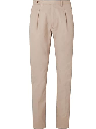 Zanella Slim-fit Pleated Washed-cotton Trousers - Sand