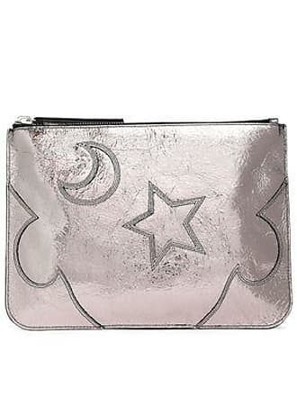 McQ by Alexander McQueen Mcq Alexander Mcqueen Woman Solstice Metallic Cracked-leather Pouch Silver Size