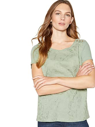 7c3447973fa1ed Mantaray Womens Light Green Floral Embroidered Cotton T-Shirt 20