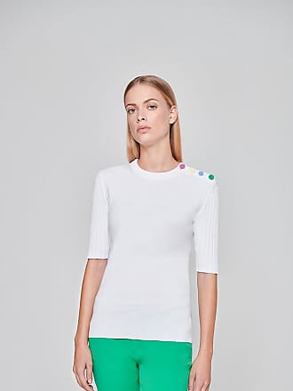Escada Sport Short-Sleeve Button Detail Sweater