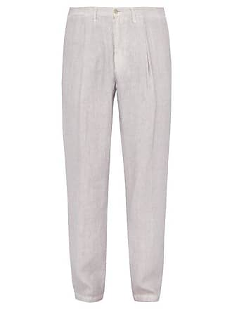 120% Lino Linen Trousers - Mens - Grey