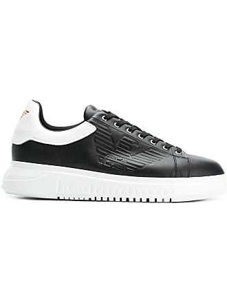 Emporio Armani embossed logo sneakers - Black