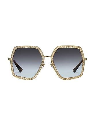 0b8f4abea Gucci Óculos de sol oversized em metal - Metálico