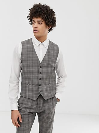 Selected suit vest in gray sand check - Gray