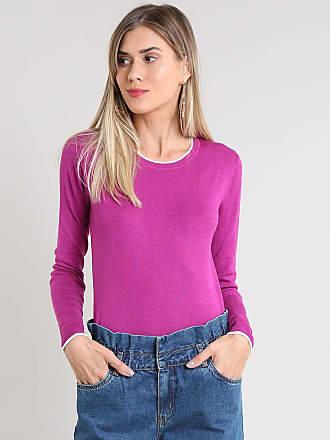 Basics Suéter Feminino Básico Bicolor em Tricô Roxo