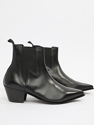 fa26b8ce8755 Asos Wide Fit stacked heel western boots in black leather with lightning  detail - Black
