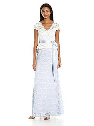 Adrianna Papell Womens Nouveau Scroll Lace Gown, Light Blue/Ivory, 8