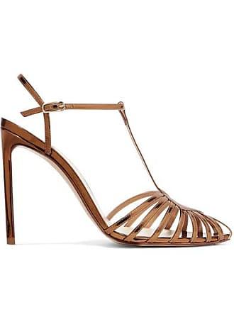 5d8af2e56fa3 Francesco Russo Cutout Mirrored-leather Sandals - Gold