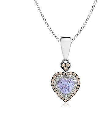 Angara Valentine Day Sale - Tanzanite Heart Pendant with Coffee and White Diamond Halo