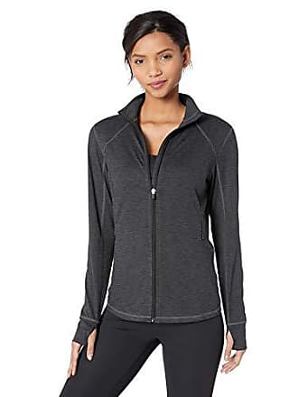 Amazon Essentials Womens Brushed Tech Stretch Full-Zip Jacket, Black Space dye, X-Large
