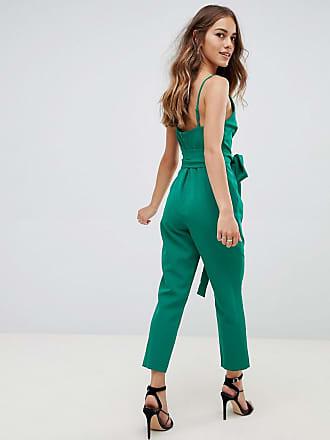 727f31a5c977 Asos Petite ASOS DESIGN Petite wrap front jumpsuit with peg leg and self  belt - Green