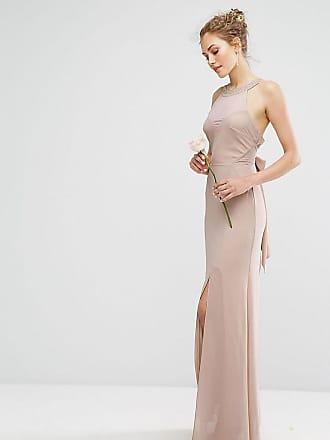 Tfnc WEDDING - Vestito lungo in chiffon con decorazione tono su tono e  allacciatura - Marrone 03dcee7939b