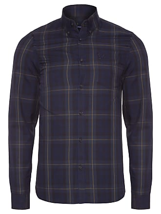 Fred Perry CAMISA MASCULINA CONTRAST STRIPE TARTAN - AZUL