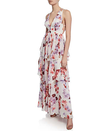 e549078634a Fame   Partners Floral-Print Plunge-Neck Strappy-Back Tiered Georgette Dress