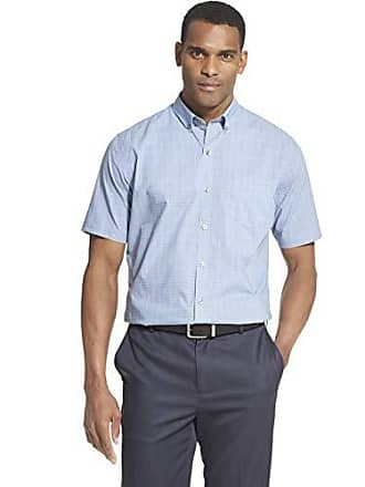 Van Heusen Mens Flex Short Sleeve Button Down Check Shirt, Blue Thunder, Large