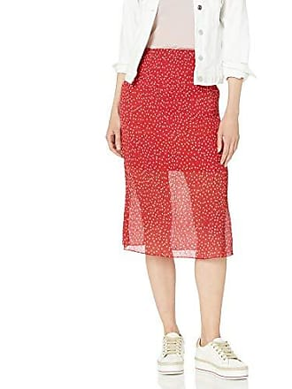 The Fifth Label Womens Assemblage Illusion Crinkle Slip MIDI Skirt, Red W White, S