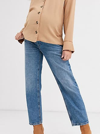 Asos Maternity ASOS DESIGN Maternity Mid rise off duty straight leg jeans in mid vintage wash with over the bump band-Blue