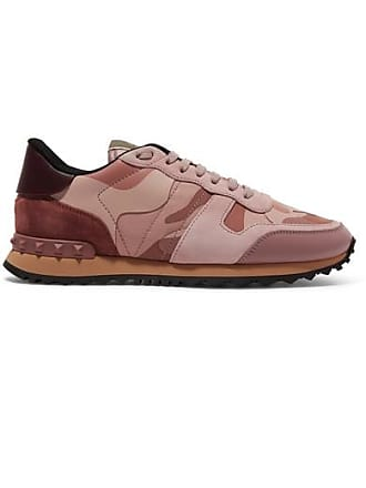 0308a0caccb Valentino Valentino Garavani Leather And Suede-trimmed Camouflage-print  Canvas Sneakers - Baby pink