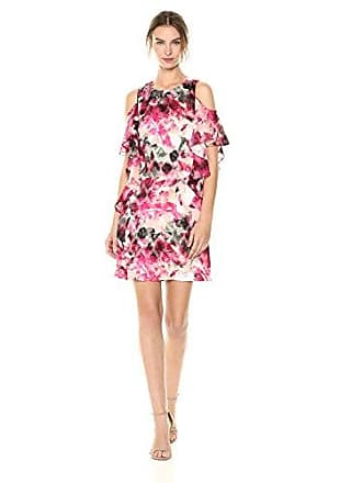 655cf95331388 Tahari by ASL Womens Sleeveless Yoryu Chiffon Dress, Peach/Magenta/Olive 8