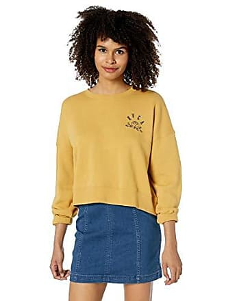 Rvca Womens Rose State Crew Neck Sweatshirt, Camel, L