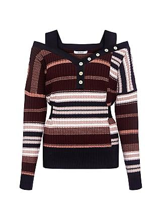 Derek Lam Off The Shoulder Stripe Belted Sweater Burgundy Multi
