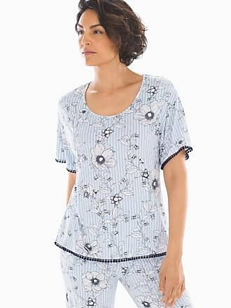 Soma Cool Nights Pom Trim Short Sleeve Pajama Tee Villa Sketch Ocean Air, Size XXL